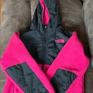 North face black and pink fleece Denali sweater